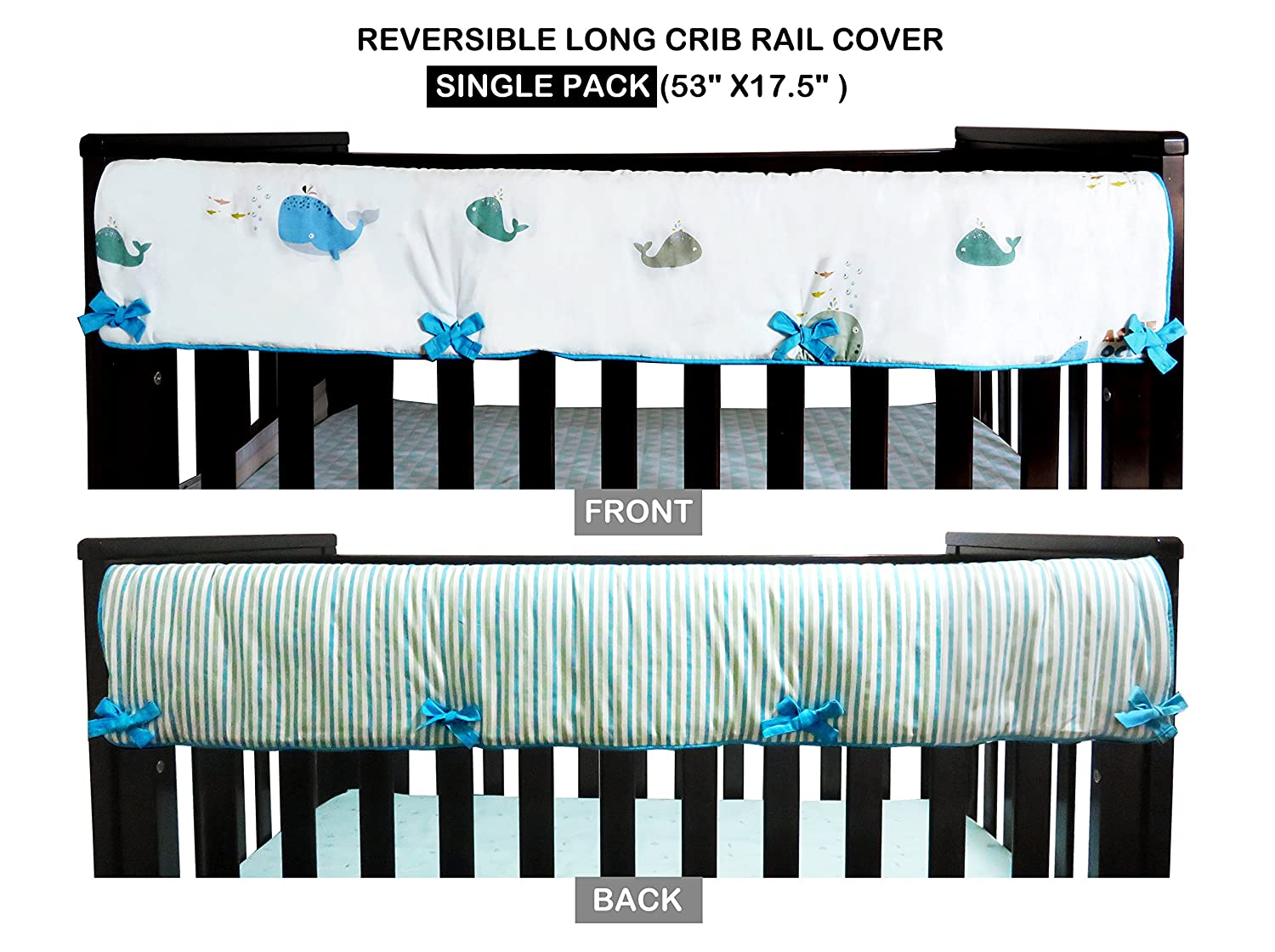 1 Piece 100% Cotton Long Front Crib Rail Cover Teething Guard/Wrap for Teething Baby, 53