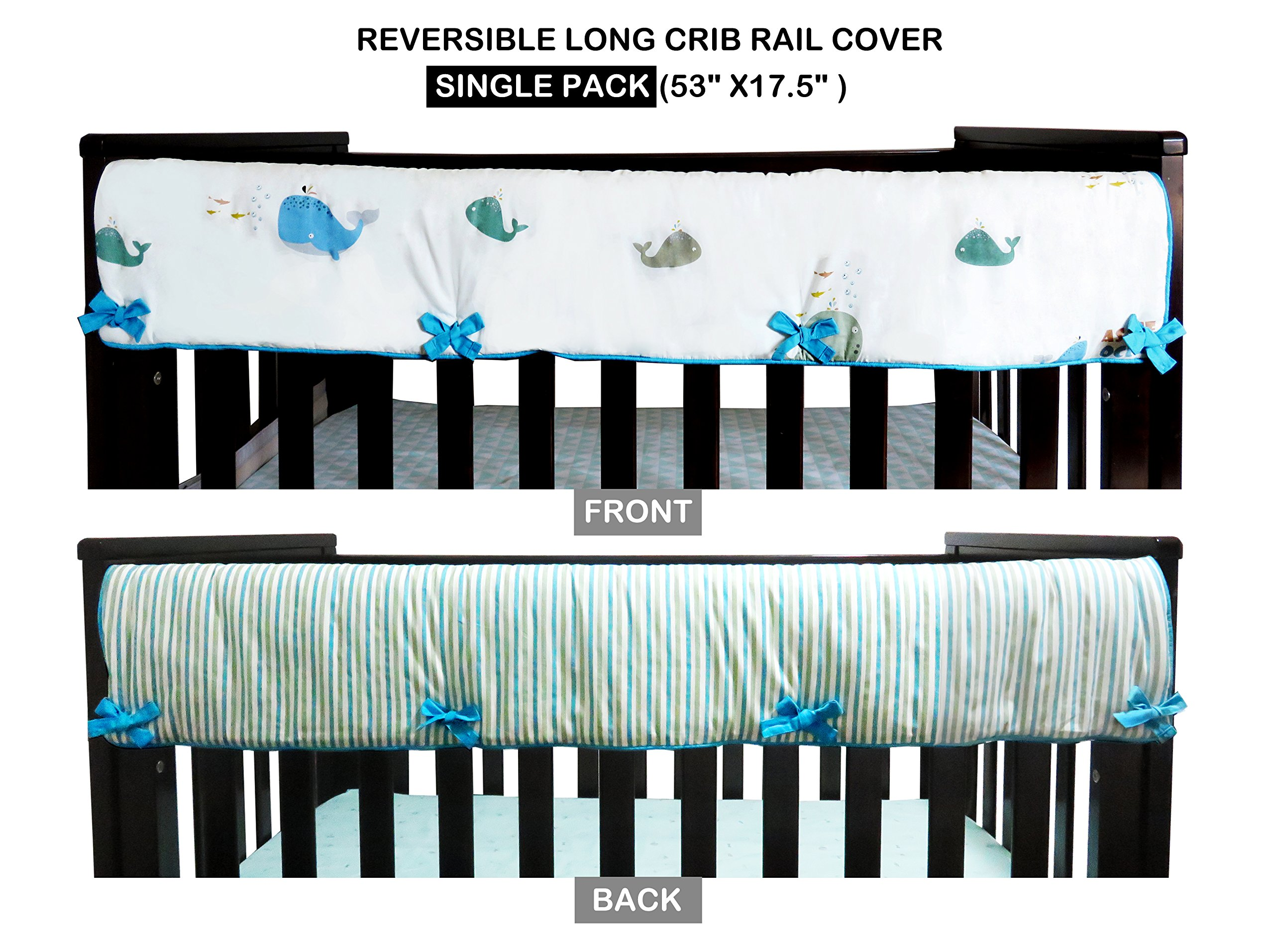 1 Piece 100% Cotton Long Front Crib Rail Cover/Guard/Wrap 53'' X 17.5'' for Your Teething Baby,Soft Padding,Cute,Reversible, Machine Washable, Fits Most Standard Narrow & Modern Wide Crib Rails