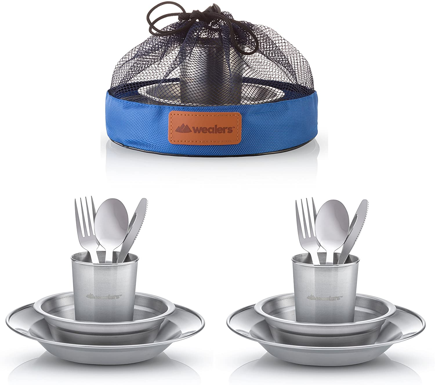 Unique Complete Messware Kit Polished Stainless Steel Dishes Set| Tableware| Dinnerware| Camping| Includes - Cups | Plates| Bowls| Cutlery| Comes in ...