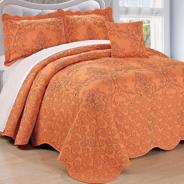 Home Soft Things Serenta Damask 4 Piece Bedspread Set, Queen, Nectarine