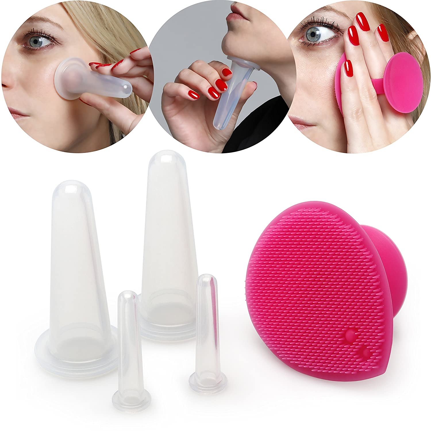 Lunata 4x Anti Cellulite Massage Cup, suction cup, cupping glass against orange peel skin, vacuum massager, silicone cups Timejam