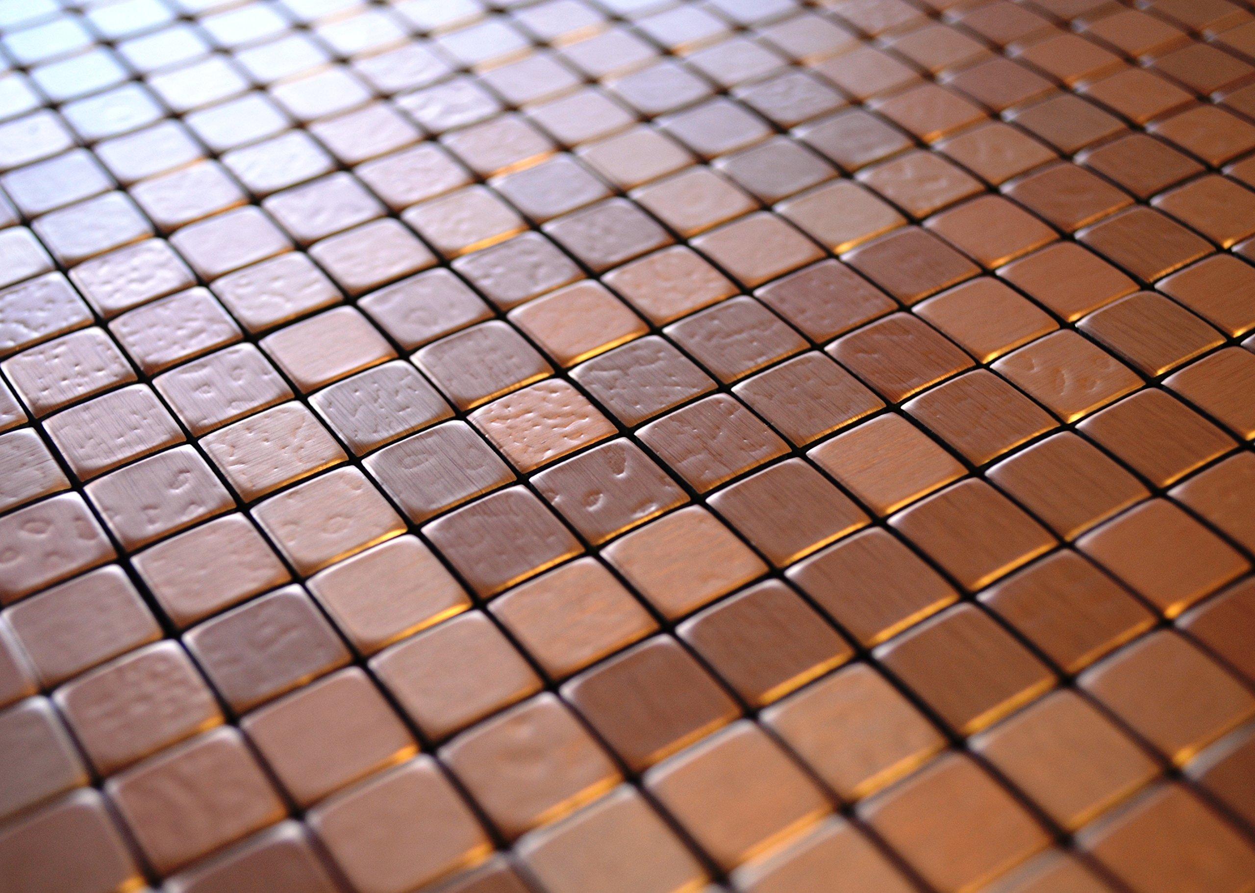 FLEXIPIXTILE, 10-Piece Aluminum Mosaic Tile, Peel & Stick, Backsplash, Accent Wall,Copper Coin