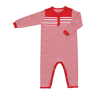 Angel Dear Unisex Baby Sweater Coverall, Christmas Stripe, Red & White, Let it Snow