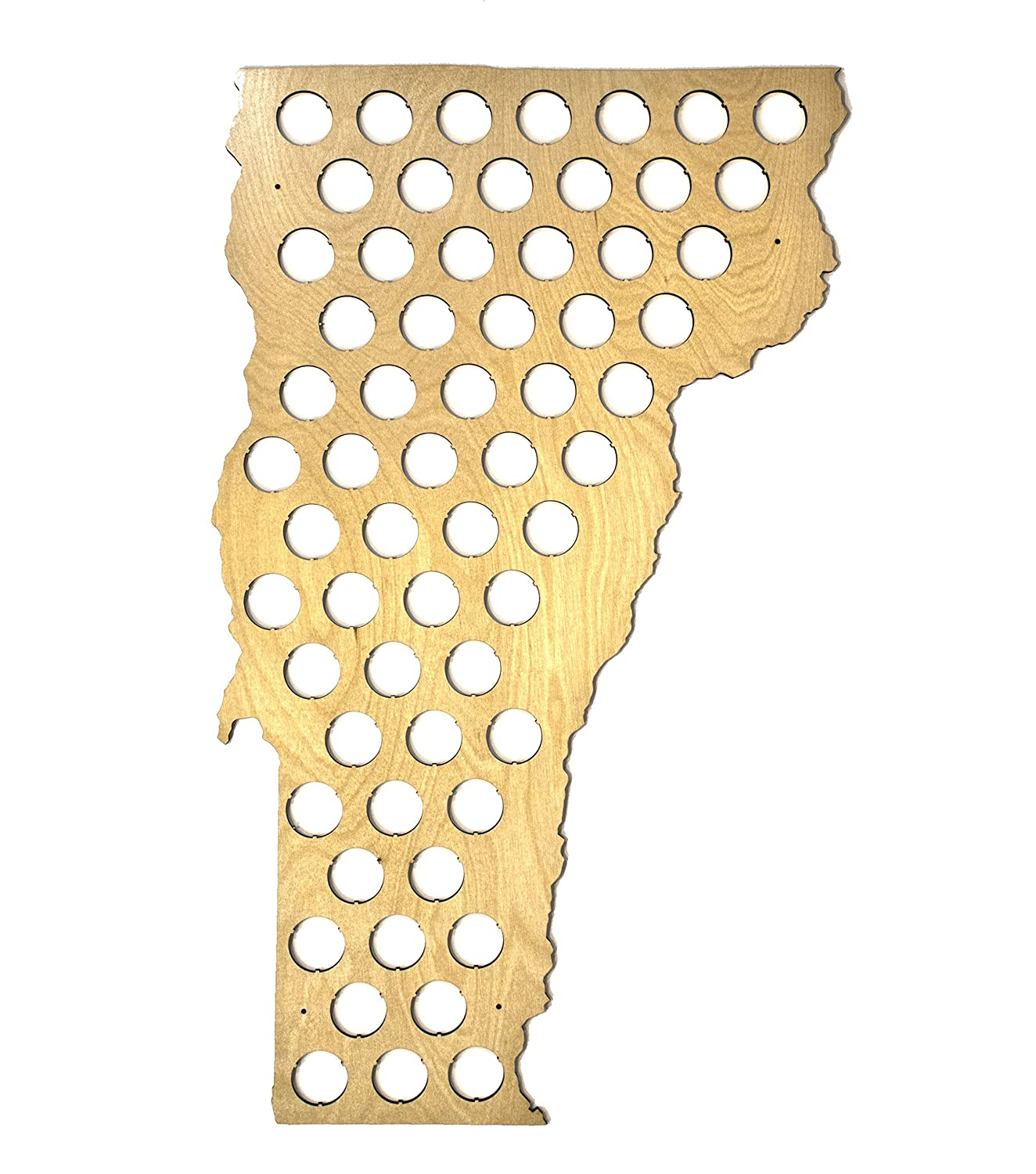 All 50 States Beer Cap Map - Vermont Beer Cap Map - Glossy Wood - Skyline Workshop