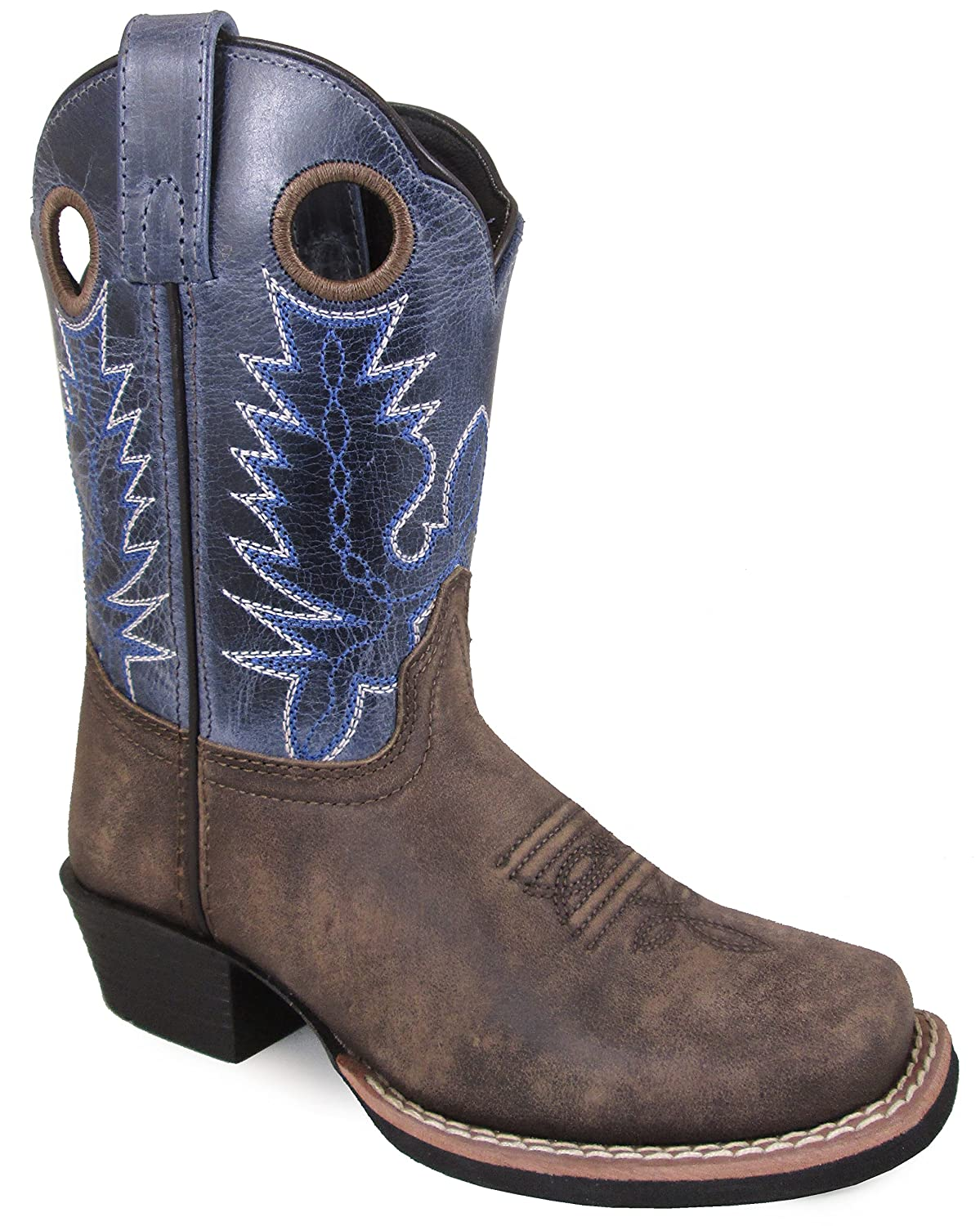 Smoky Mountain Children's Mesa Square Toe Pull On Brown Oil Distressed/Navy Crackle Boots 9M