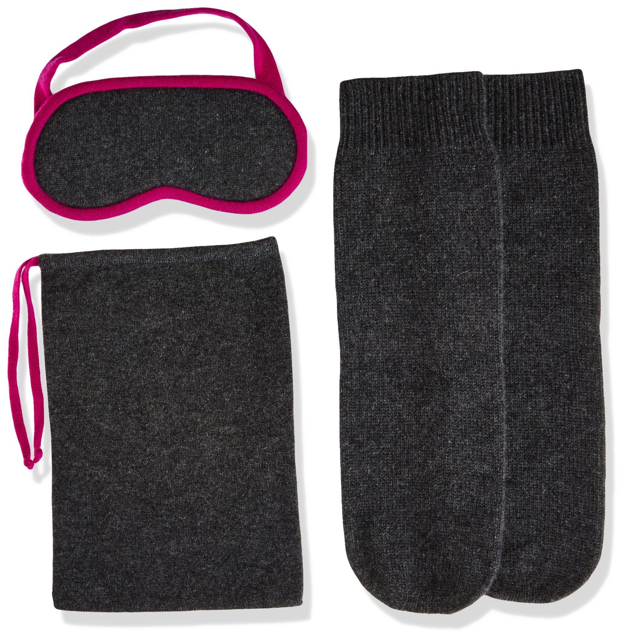 Sofia Cashmere Women's Cashmere Travel Set-Eyemask and Socks, Charocal ZY73186 + Magenta ZY62372, ONE