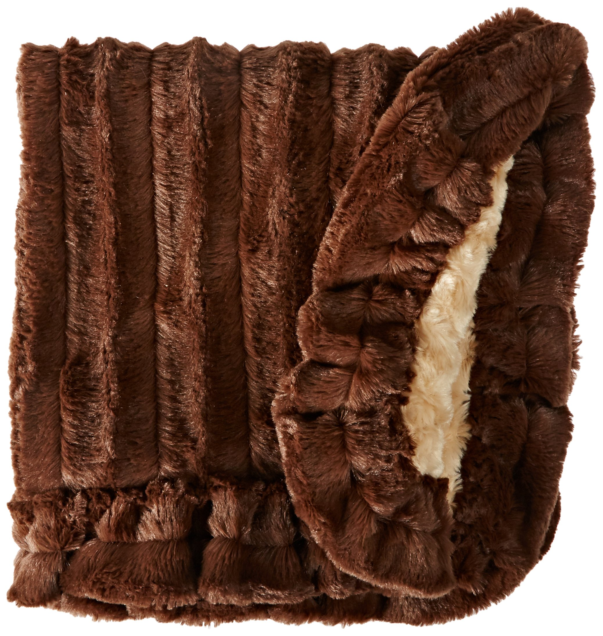 BESSIE AND BARNIE Camel Rose/Godiva Brown Luxury Ultra Plush Faux Fur Pet, Dog, Cat, Puppy Super Soft Reversible Blanket (Multiple Sizes) by BESSIE AND BARNIE (Image #1)