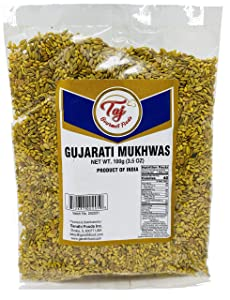 TAJ Premium Indian Gujarati Mukhwas (Mouth Freshener, Digestive Snack), (3.5 Ounce)