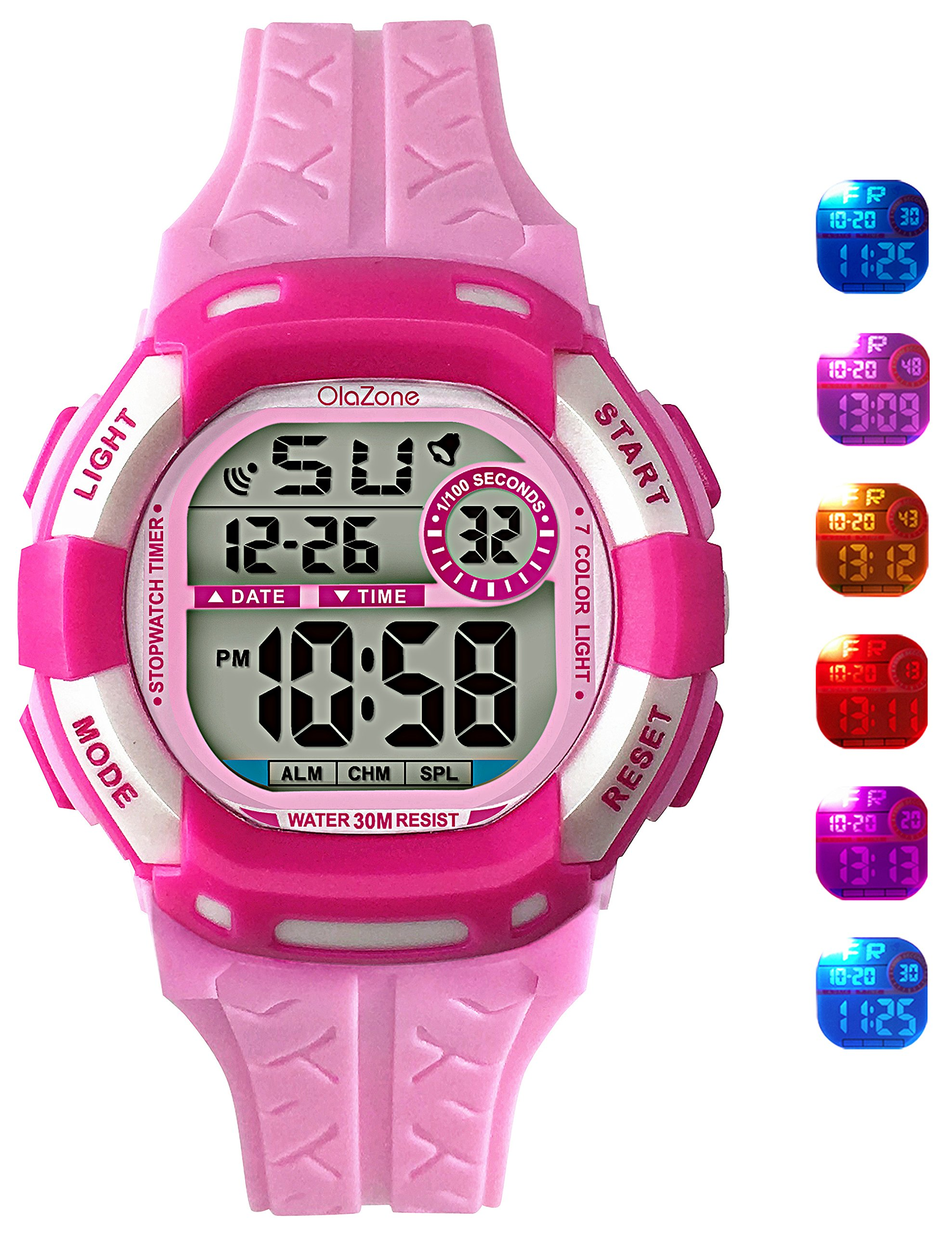 Kids Watch Grils Digital 7-Color Flashing Light Water Resistant 100FT Alarm Watch for Age 4-10 (Pink)