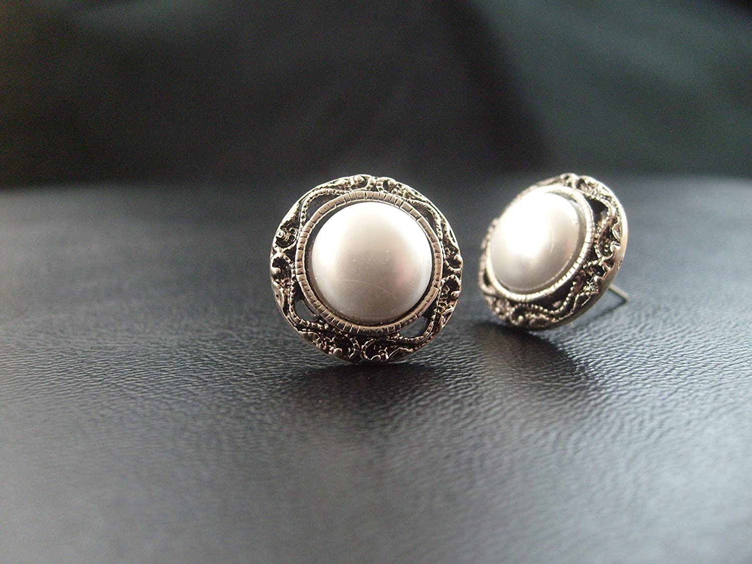 42f7fa0d65179 Pearl Wedding Stud Earrings, vintage look, Victorian, small, white pearl  with filigree, surgical steel