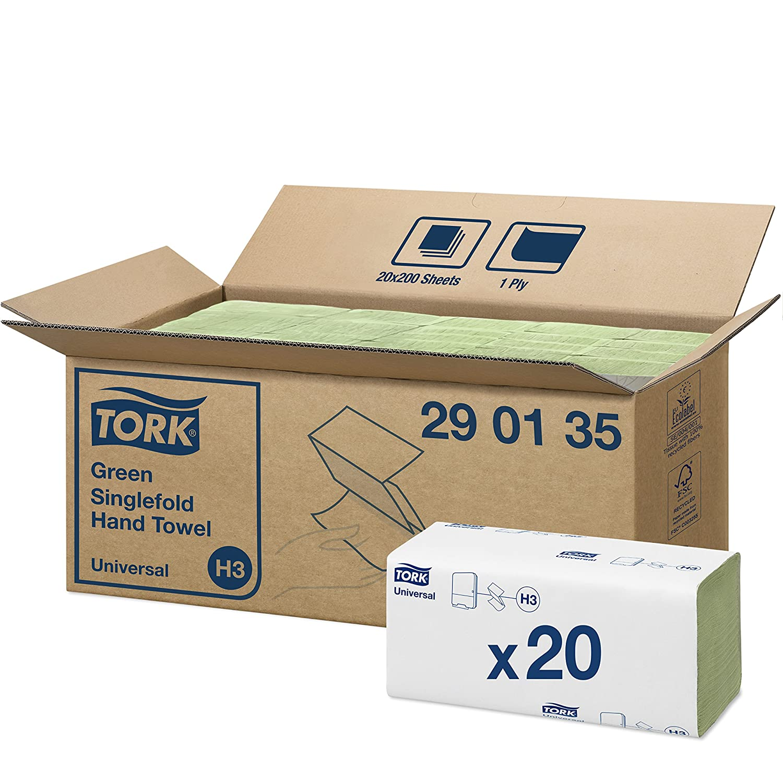 Tork 290179 Asciugamani Piegati a V Advanced, 2 Veli, Verde, 25X23 cm, 3750 Pezzi SCA