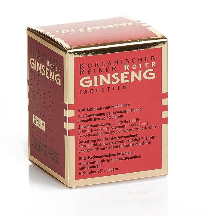 Ginseng Rojo Puro Coreano - 200 Tabletas (vegana): Amazon.es: Salud ...