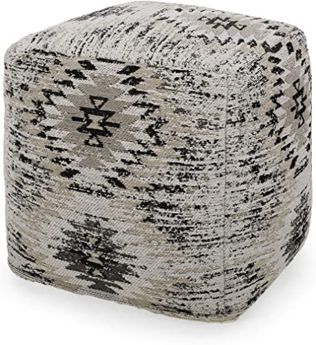 Christopher Knight Home Kaylee Hand-Loomed Boho Fabric Cube Pouf, Beige, Gray