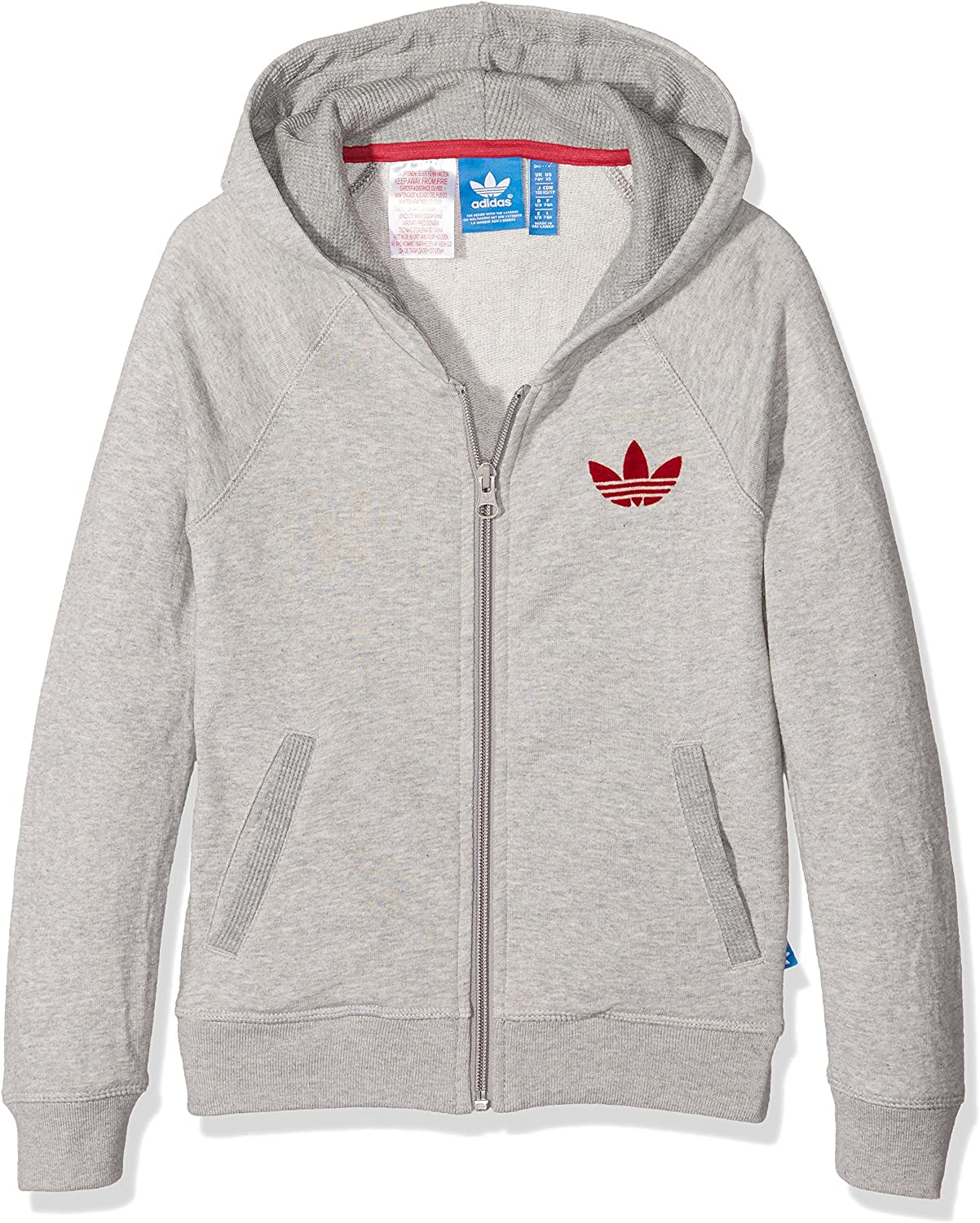 Adidas J FT Sweat shirt à Capuche Fille, Gris 110., Taille