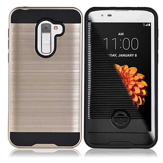 the best attitude ef2a1 5dd33 Alcatel Walters, A30 Fierce, 5049Z, Dual Layer Brushed Metal Hardcase,  Durable Hard Case for Alcatel, A30 Fierce, Shockproof Case (GOLD)