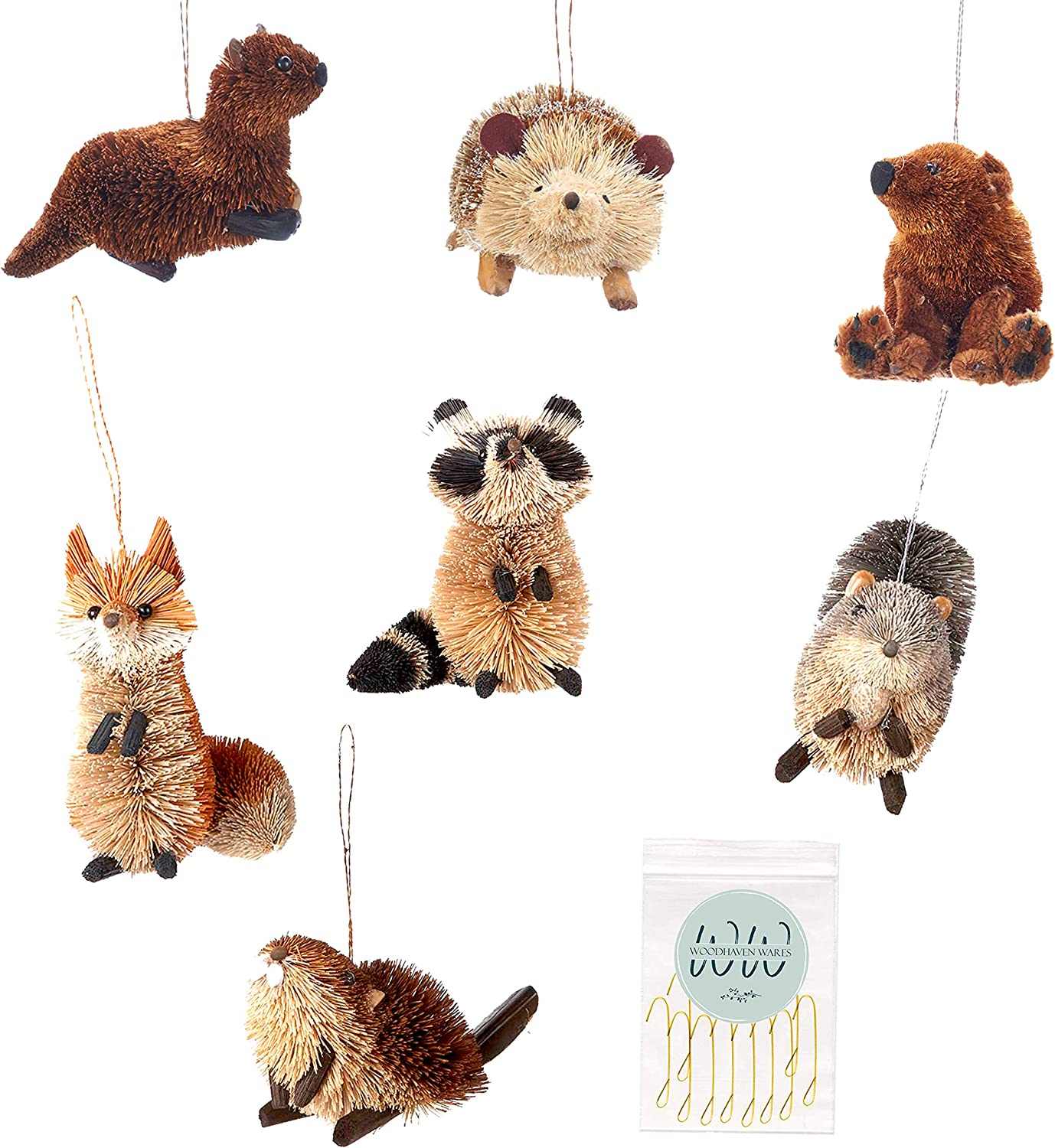 Buri Woodland Animal Ornaments with Hooks, Set of 7 Ornaments