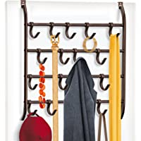 Lynk Over Door or Wall Mount 16 Hook Rack Shirt, Belt, Hat, Coat, Towel Organizer, Bronze