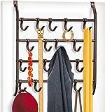 Lynk Over Door or Wall Mount 16 Hook Rack Shirt, Belt,