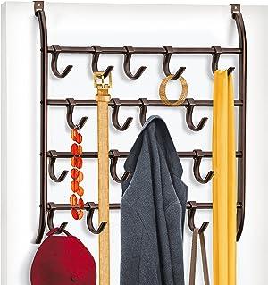 Lynk Over Door or Wall Mount 16 Hook Rack Shirt, Belt, Hat, Coat, Towel Organizer, Bronze