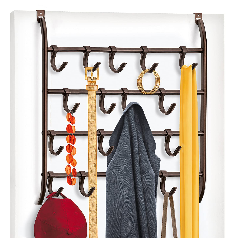 Lynk Over Door or Wall Mount Scarf Holder - Belt, Hat, Jewelry, Accessory Hanger - 16 Hook Organizer Rack - Platinum Lynk® 144212DS