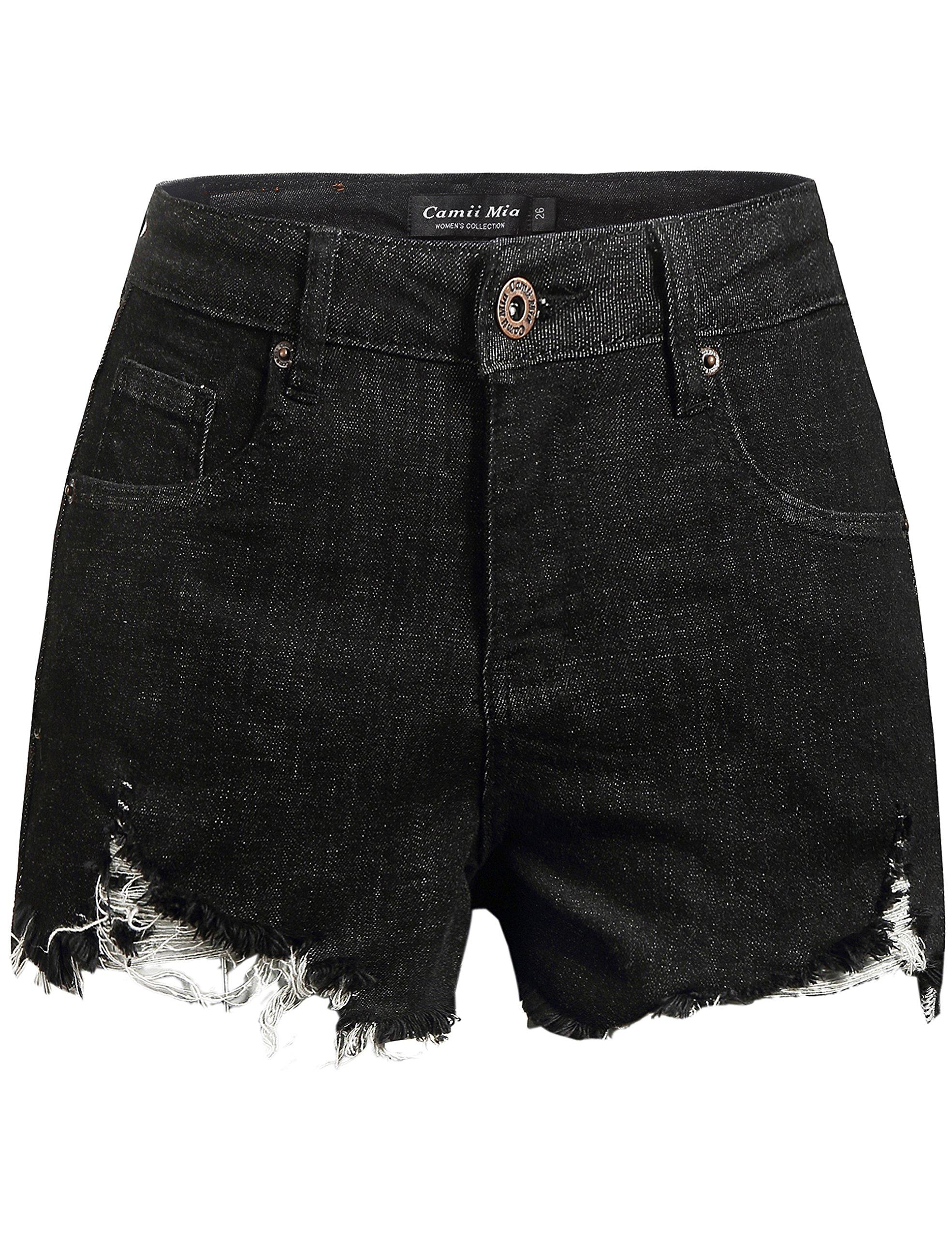 Camii Mia Women's Distressed Cutoff Mid Rise Stretch Slim Denim Shorts (30, Black)