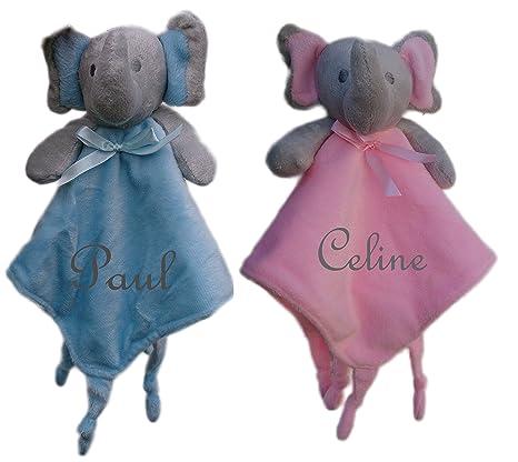 Bebé manta de seguridad para bebé diseño de elefante en nombre bordados bautizo regalos nacimiento rosa