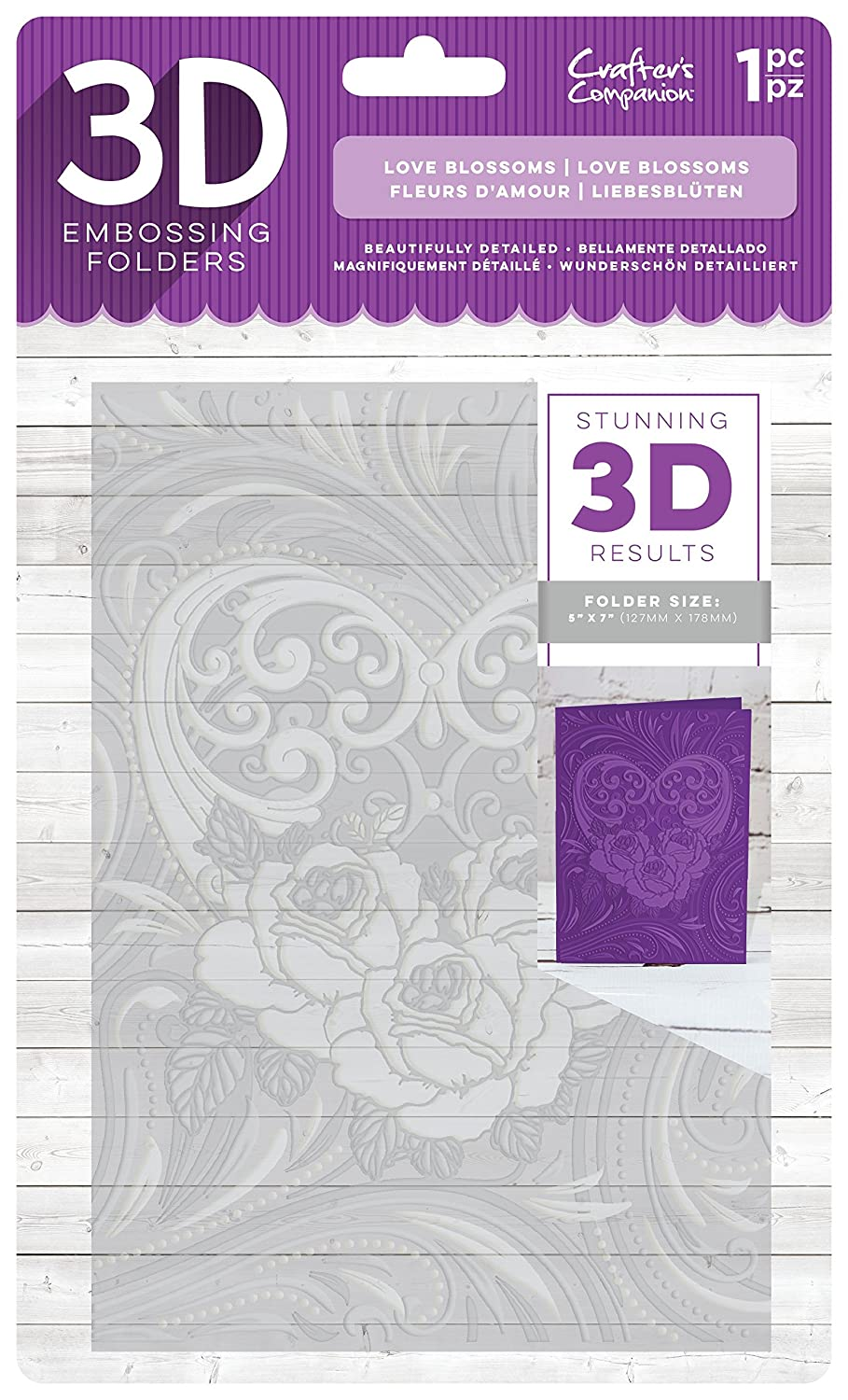 Crafter' s Companion 3D embossing folder-love Blossoms, 12,7 x 17,8 cm Crafter' s Companion EF5-3D-LBLO