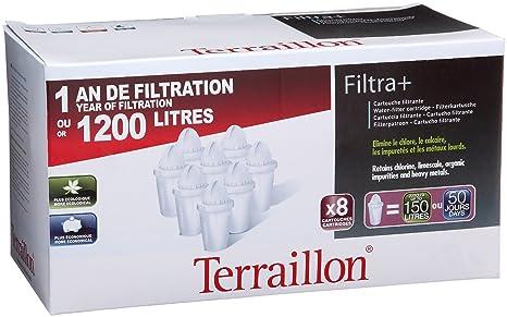 terraillon filtri  Terraillon 9847, Confezione 8 filtri per caraffa Filtra+:  ...