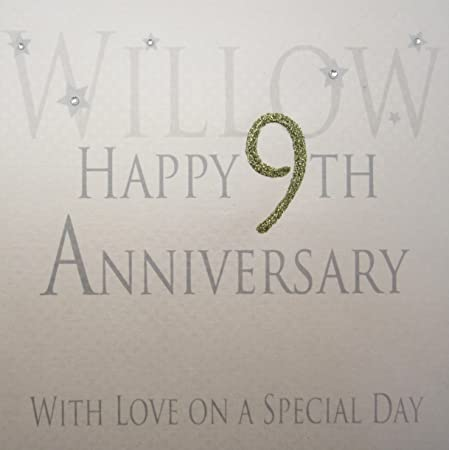 White Cotton Cards Willow Happy 9th Love On A Special Day Handmade