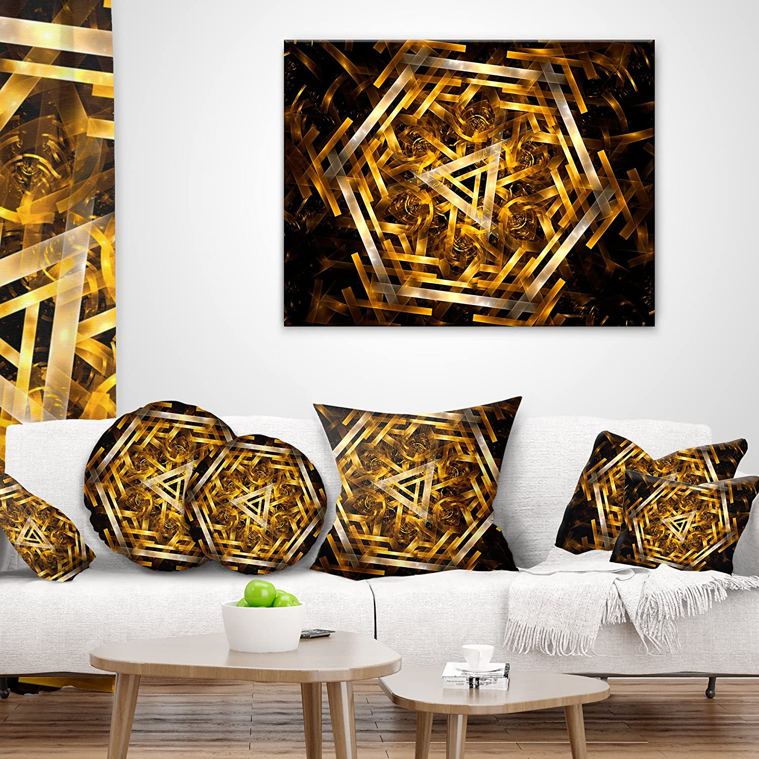 Designart Cu9290 16 16 Fractal 3d Yellowish Hexagon Contemporary Cushion Cover For Living Room In Sofa Throw Pillow 16 In Insert Printed On Both Side X 16 In Decorative Pillows Inserts Covers Throw