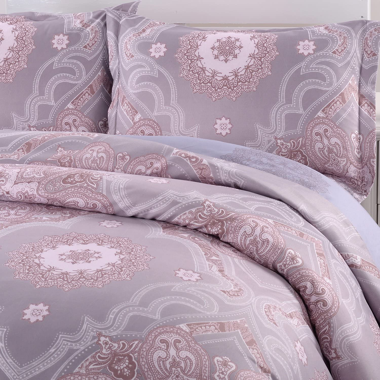 King Simple/&Opulence Microfiber Light Purple Floral Queen Quilt King Duvet Cover Set Including 1 Duvet Cover and 2 Pillowcases