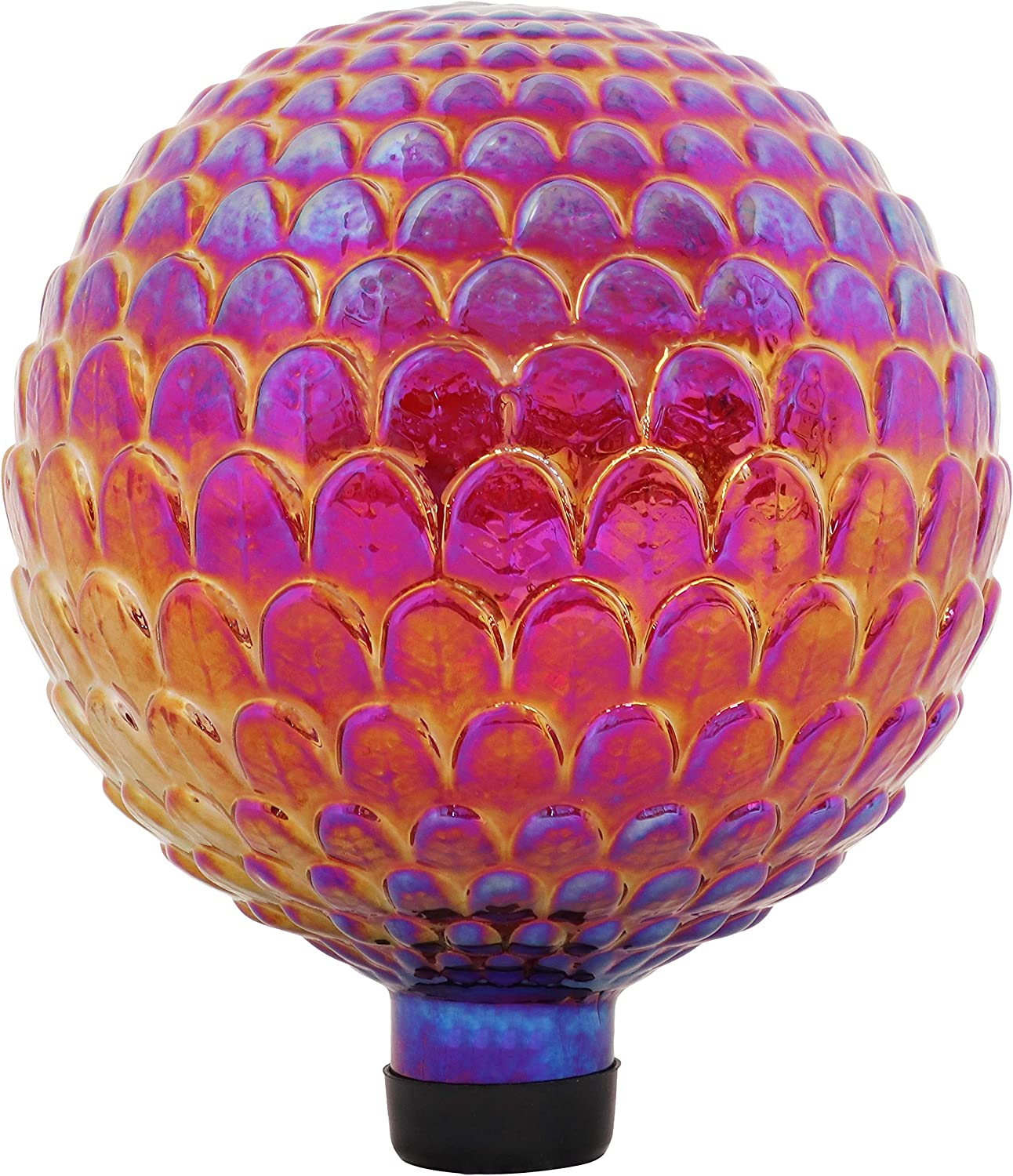 Sunnydaze Red Scalloped Texture Outdoor Gazing Globe Glass Garden Ball Decor - Outdoor, Patio, Lawn and Backyard Sphere Ornament Decoration - 10-Inch Size
