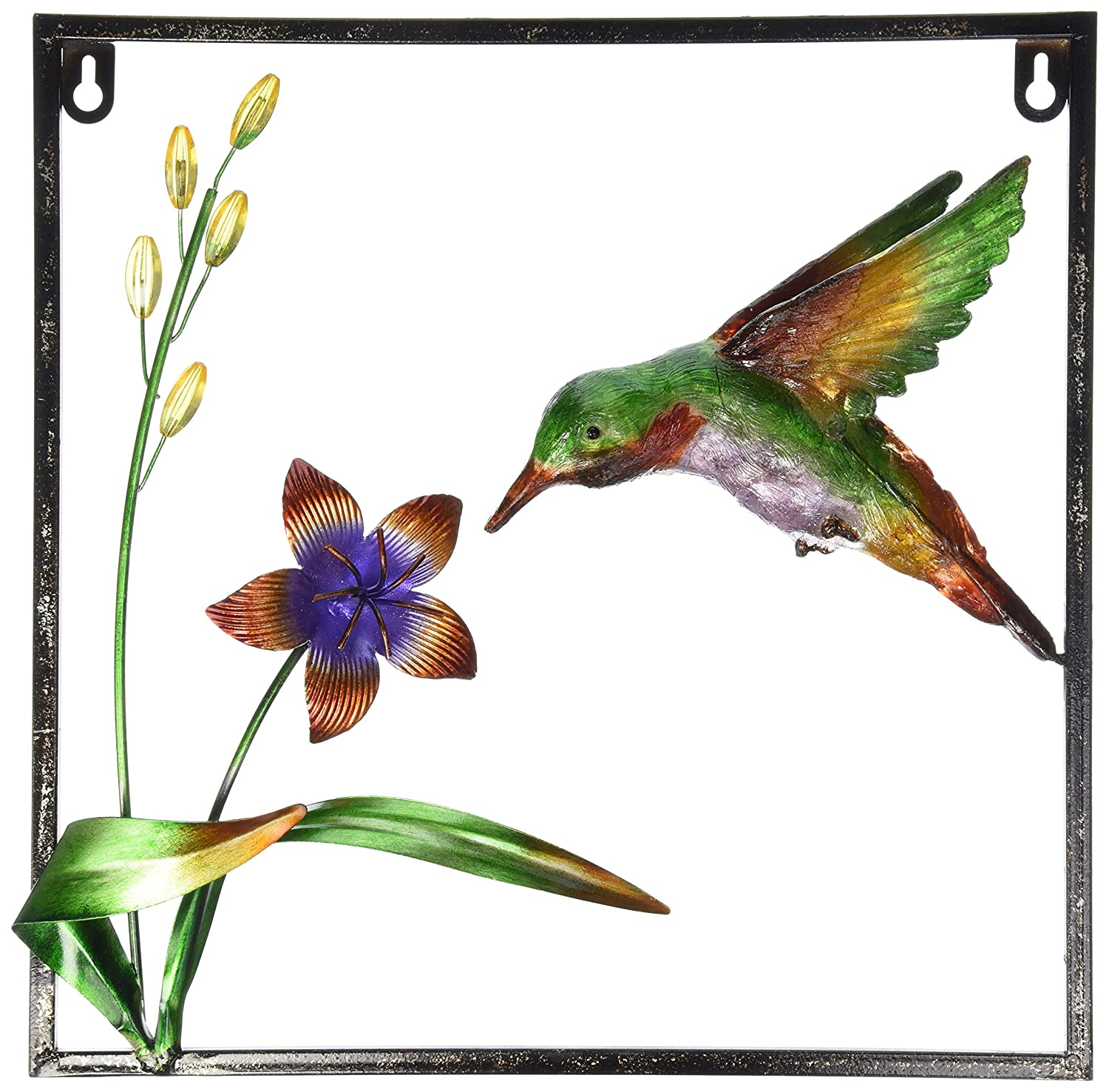 Gift Craft 13-Inch Iron Hummingbird Design Wall Plaques, Medium