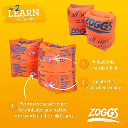 Zoggs  Swimming Swim Orange Roll Up Inflatable Armbands