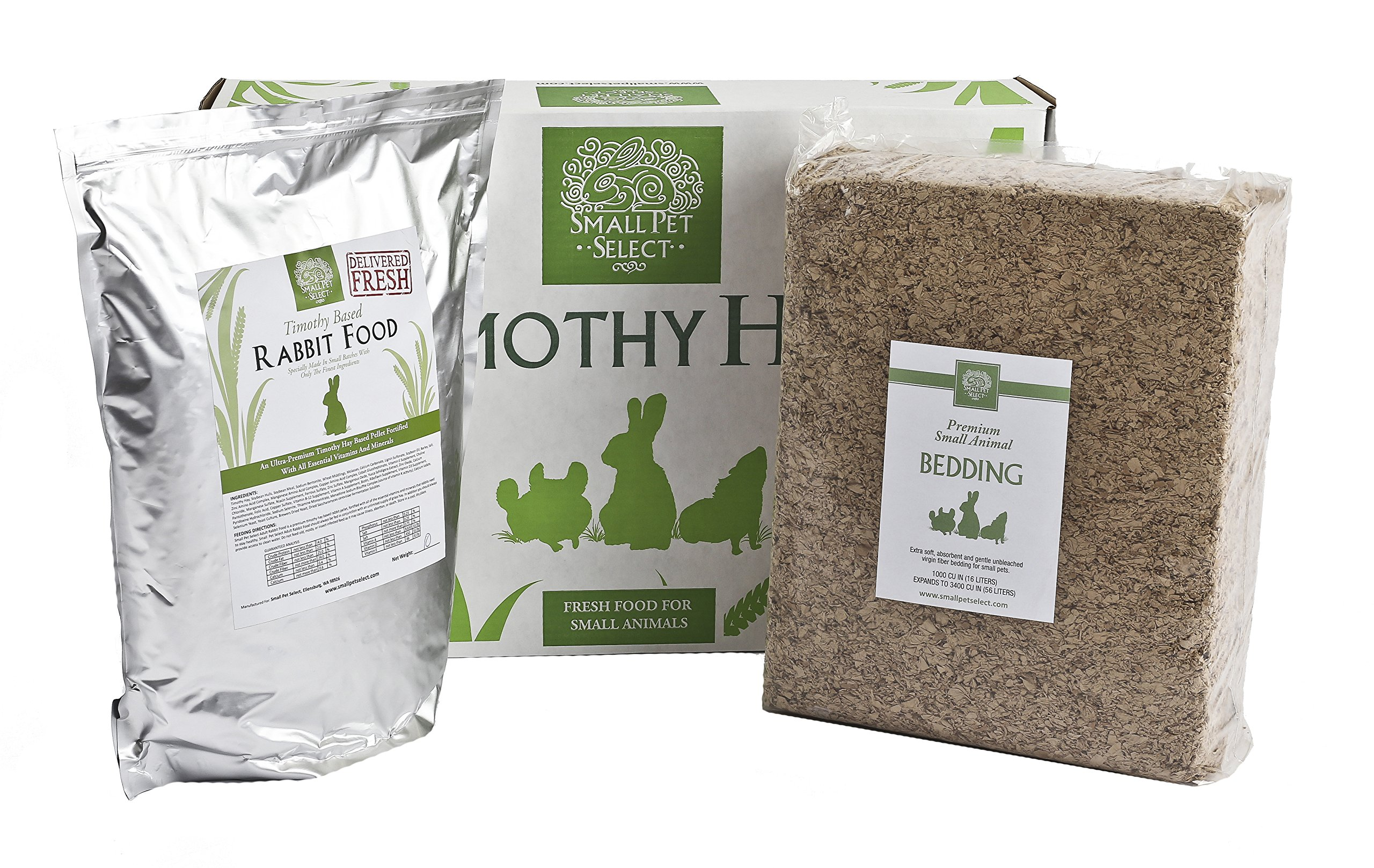 Small Pet Select Deluxe Combo Pack: Timothy Hay (5 Lb.), Rabbit Food (5 Lb.), Bedding (56L) by Small Pet Select