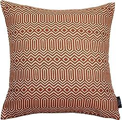 "McAlister Colorado Woven Geometric 24"" Decor Pillow Cover | Burnt Terracotta Brick Orange 24x24 Throw Cushion Case | Thick Tribal Geo Geometry Modern Aztec Moroccan Accent"