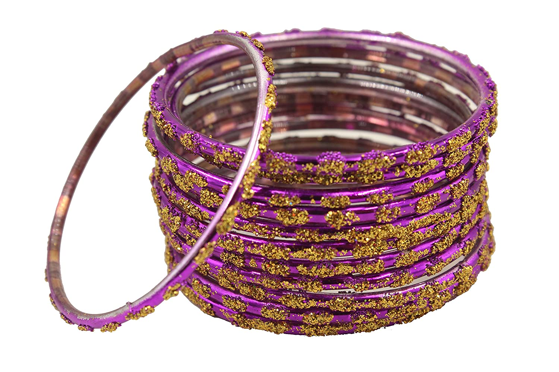 Nagercoil Purple Glass Bangle Set - Size : 2 4, 1 Set of 12 Bangles