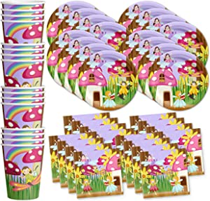 Fairy Garden Birthday Party Supplies Set Plates Napkins Cups Tableware Kit for 16