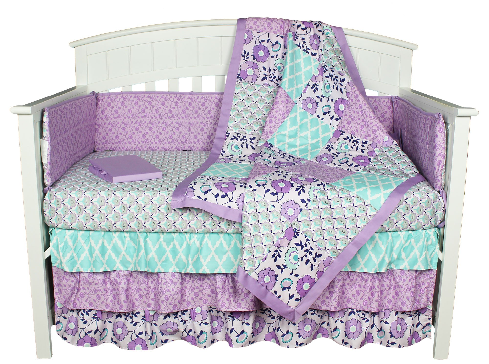 Purple Crib Bedding, Zoe 8-in-1 Floral Patchwork Baby Bedding Set by The Peanut Shell