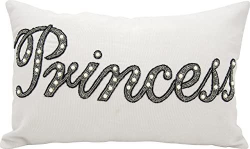 Mina Victory by Nourison Beaded Princess Decorative Pillow, 12 x 20 , Silver Grey