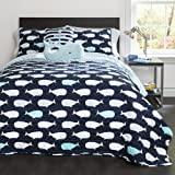 Lush Decor 4 Piece Whale Quilt Set, Navy, Twin