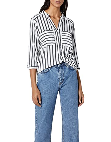 592cd2abb76 VERO MODA Damen Regular Fit Bluse VMERIKA STRIPE 3 4 SHIRT E10 NOOS 10168581