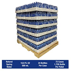 Alexa Springs Bottled Water, Natural Spring Water, 16.9 oz. Bottles, 24 per Case, 72 Cases per Pallet, 1,728 Bottles per Pallet Total. Review our shipping policy for pallets