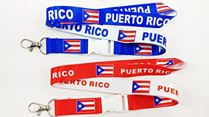 amazon com 2 puerto rico flag reversible lanyards keychain with