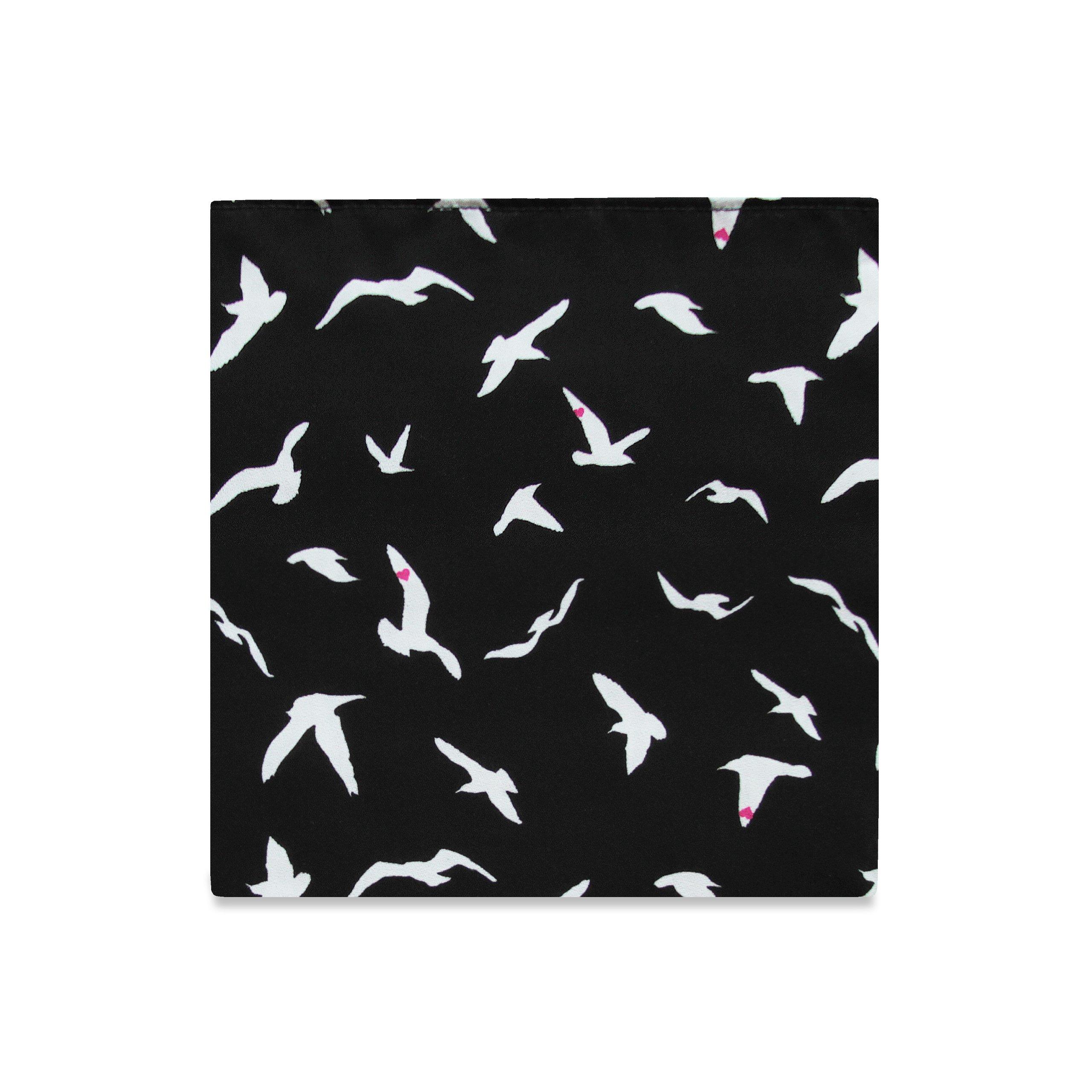 PSC Men's The Nightingale Pocket Square 11'' x 11'' Black w/ Birds
