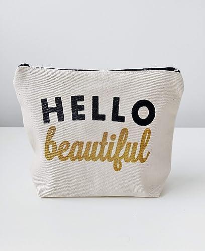 Hello Beautiful Bag  Pretty Makeup Bag  Black and White Bag