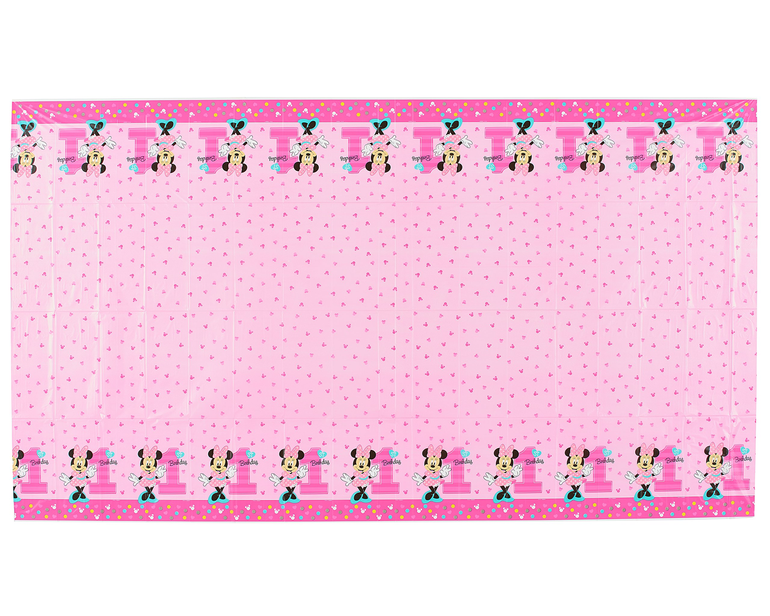 American Greetings Minnie Mouse 1st Birthday 54 X 96 Table Cover