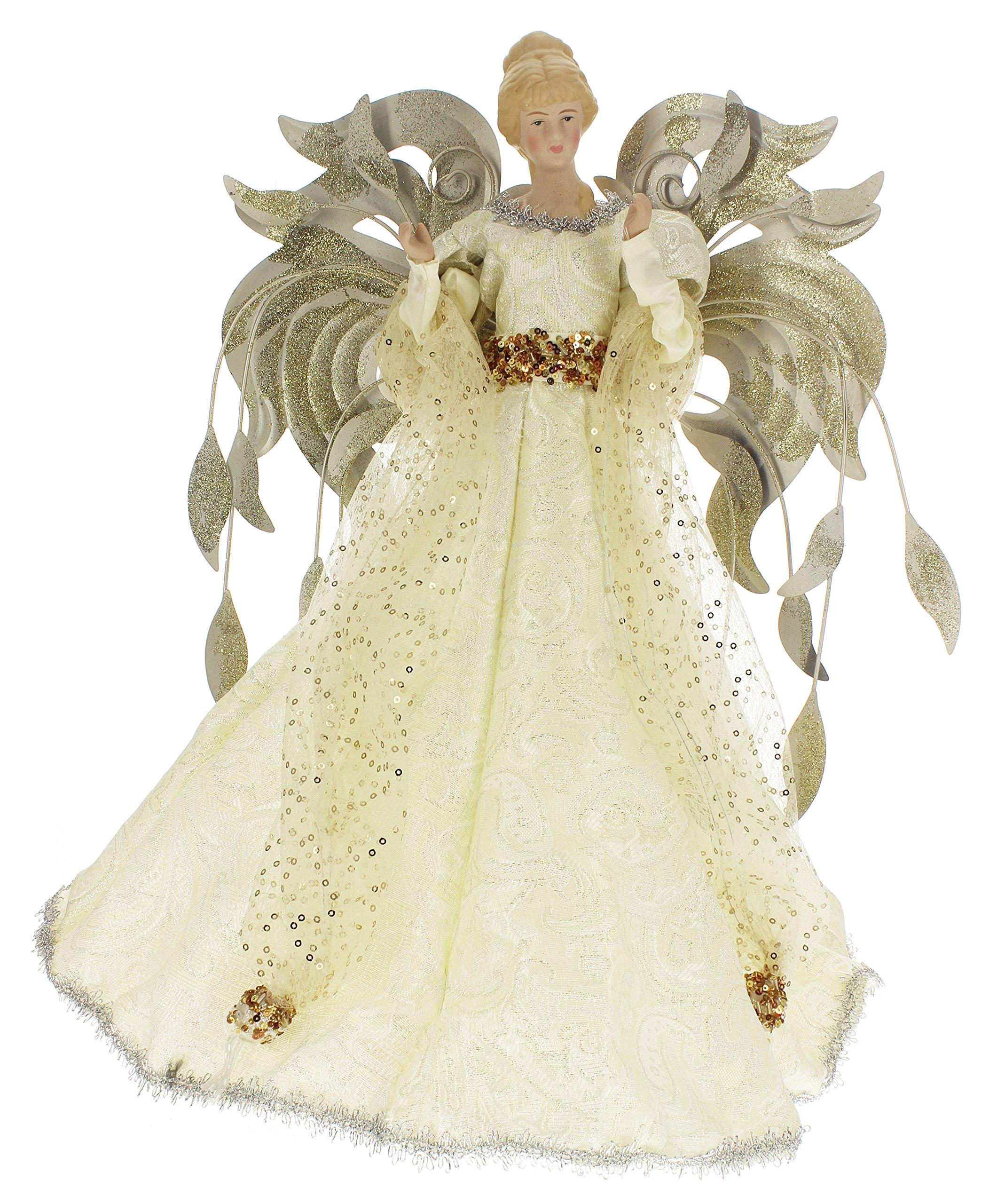 Seasons Designs 16'' Gold-Glittered Metal Wings Angel Tree Topper