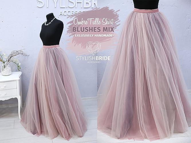 1810e770fdc7c Amazon.com  Blush   Blackberry Ombre Super Lush Wedding Tulle Skirt ...