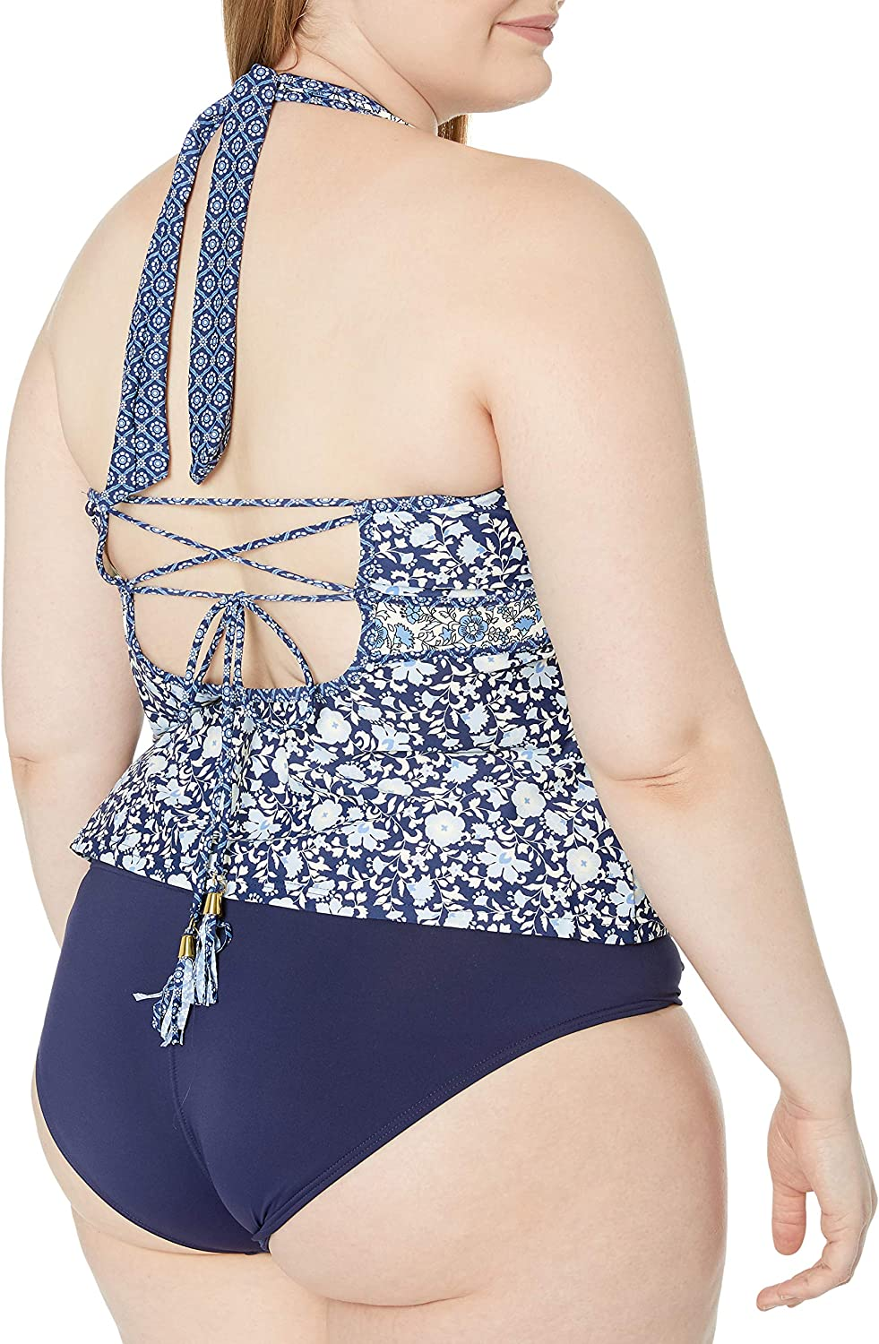 Jessica Simpson Womens Plus-Size Patched Up Ditsy Floral Cross Back Halter Tankini